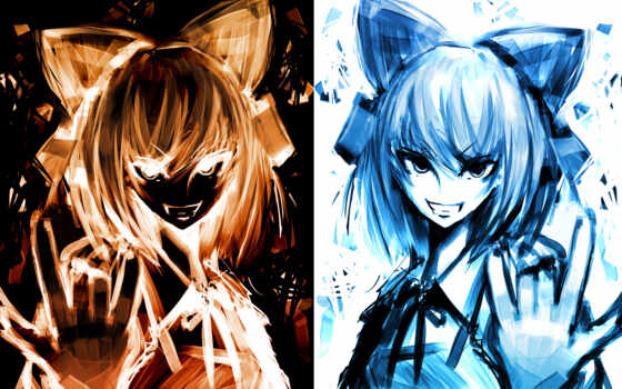 anime, similar, ribbons, cirno, horns, touhou,
