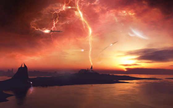 солнечный, буря, изображение