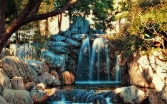 водопад, voda, hdr, камни, park, деревя,