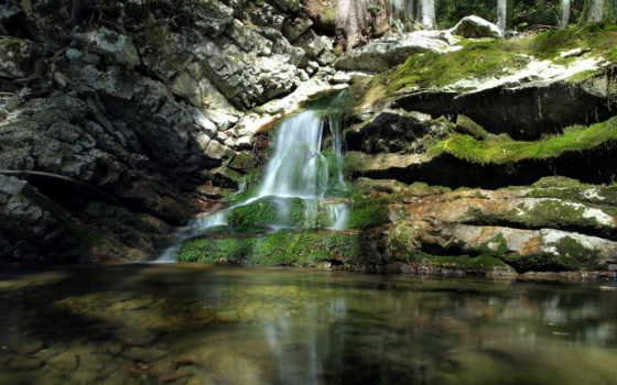 rock, камень, водопад