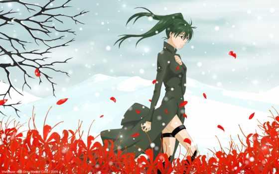 девушка, серый, lenalee, lee, плачущий, поле, цветы, ли, anime, линали,