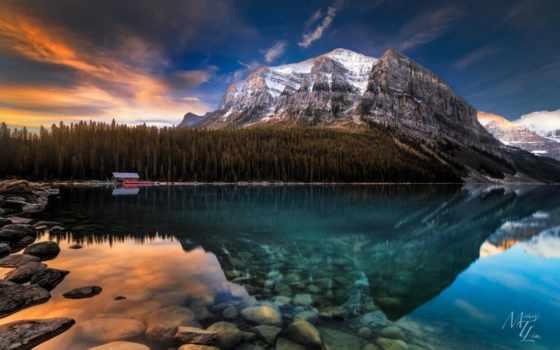 озеро, louise, канада, альберта, природа, mountains, рассвет,