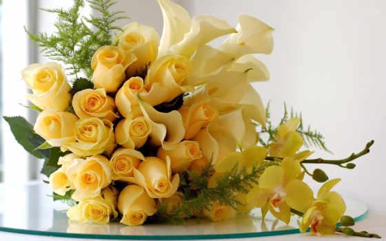 розы, цветы, букет, разрешения, высокого, лилии, source, красавица, photosflowery, glass, ветки,