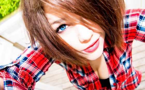 девушка, рубашке, devushki, красной, gal, фоны, девушек, взгляд,