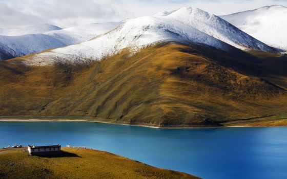 горы, tibet, река