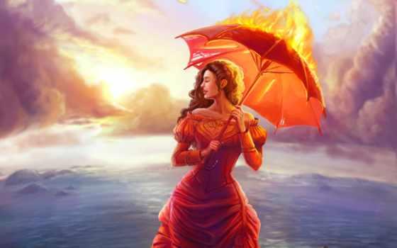 девушка, огонь, платье, категории, art, avatars, живопись,
