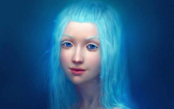 волосы, синие, девушка
