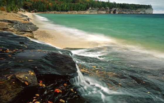 пляж, national, озеро, lakeshore, chapel, pictured, шапель, superior, rocks, озера,