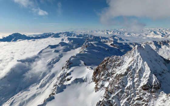 горы, альпы, небо, oblaka, снег, вершины, winter, высоком,