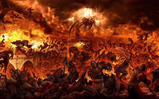 битва, драконы, фэнтези, монстры, огонь, люди, castle, fantasy, ад, oldtimewallpape,