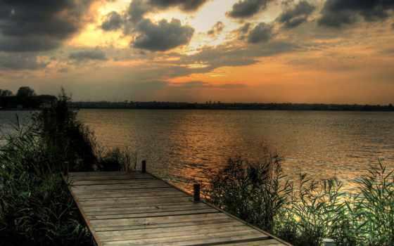 природа, мост, река