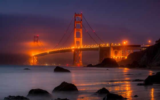 ночь, мост, gate, золотистый, против, город, небо, огни, building, cityscape, illuminate
