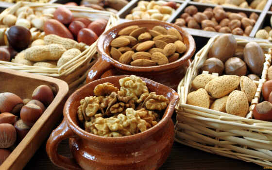 орех, walnut, плод, горшочек, который, aharis, ассорти, корзина, apple, snack