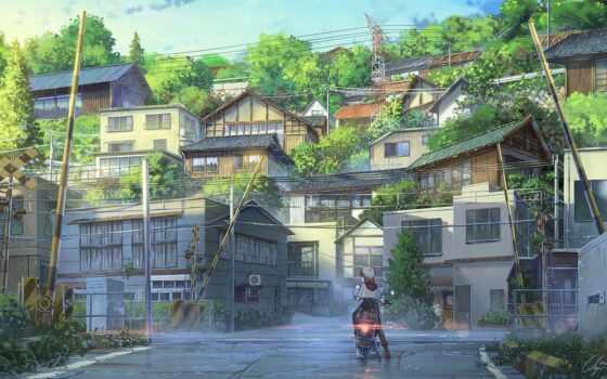anime, trong, anim, пейзаж, yukinoshi, yukino, leto, art, ukin, техника, tema