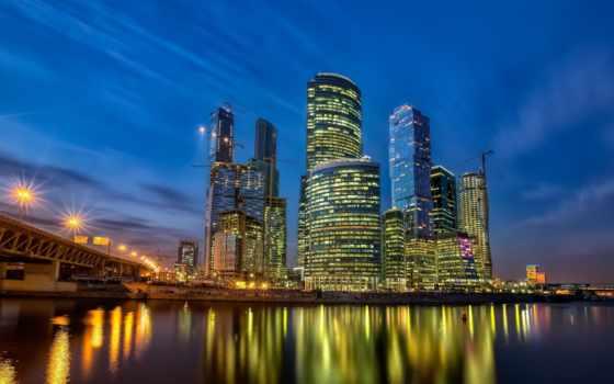город, ночь, москва, огни, business, центр, автобусная,