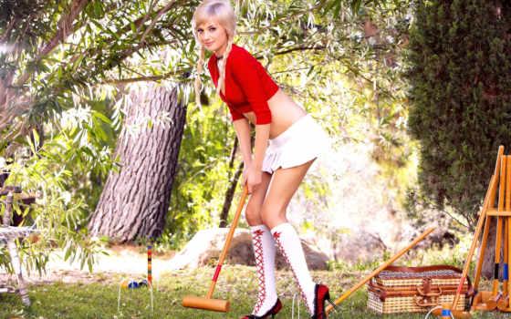 devushki, гольфах, красивые,