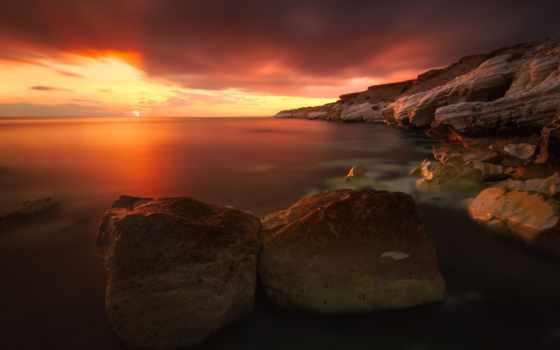 закат, ocean, rocks, water, море, небо, clouds,