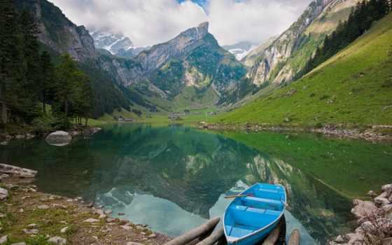 природа, горы, landscape, озеро, природы, пейзажи -, лодка, скачивайте, камни, фри,
