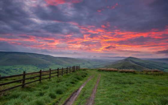 небо, дорога, горы, пейзаж, забор, закат, картинка, картинку, мыши, кликните, кнопкой, path,