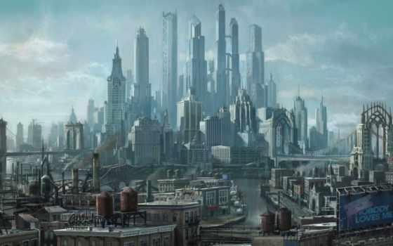 небоскребы, город, будущее, мегаполис, арт, row, saints, third, картинка,