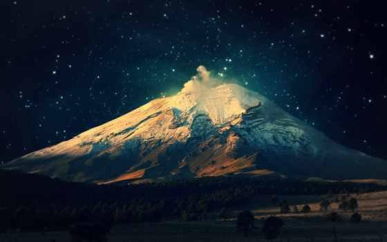 гора, ночь, лунно