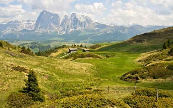 горы, альпы, summer, доломитовые, природа, italian, озеро,