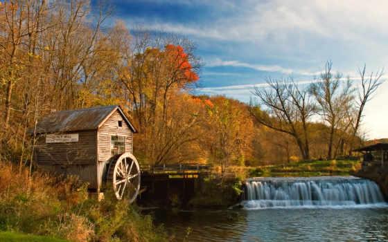 moinho, река, mill, водопад, осень, rio, landscape, пейзажи -, parede,