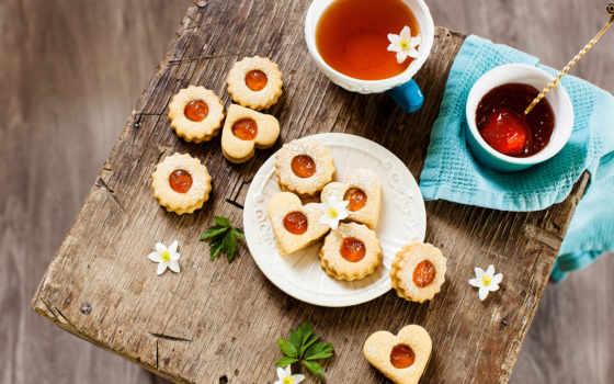 чая, cookie, cvety, cup, сладкое, формы, сердце, напиток, еда, напитки,