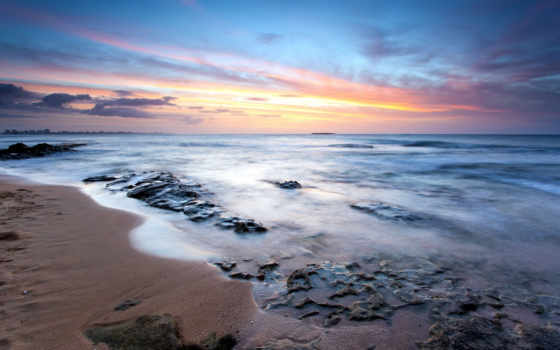 пейзажи -, yol, пальмы, закат, пляж, ecran, duvar, fond, море, кулебра, острова,