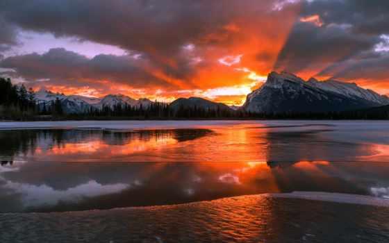 канада, гора, winter, aamir, снег, сниматься, рассвет, albert, песочница