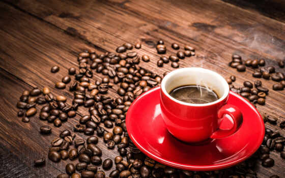coffee, cup, red