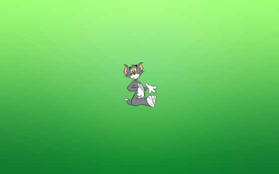 том, джерри, кот, зелёный, фон,