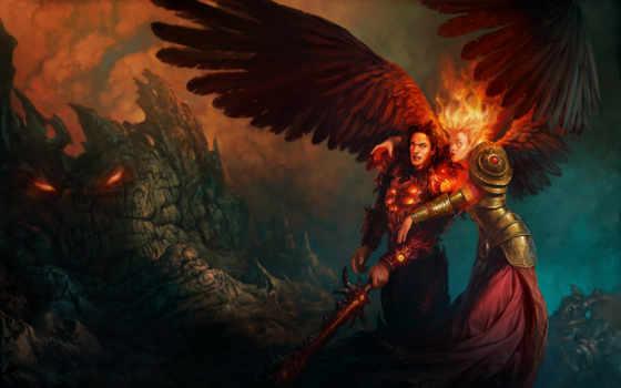 крылья, девушка, огонь, мужчина, меч, скалы, heroes, might, magic,