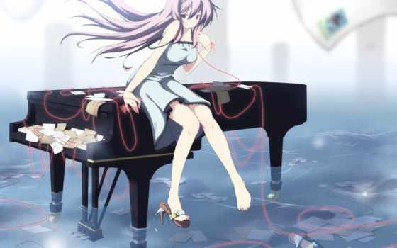 anime, без, piano, девушка, названия,