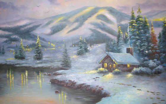 томас, kinkade, winter