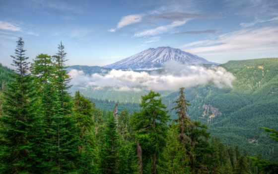 природа, сша, горы, washington, landscape, картинка, озеро, туман, mountains,