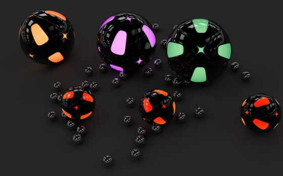 black, графика, серый, neon, gloss, шары,