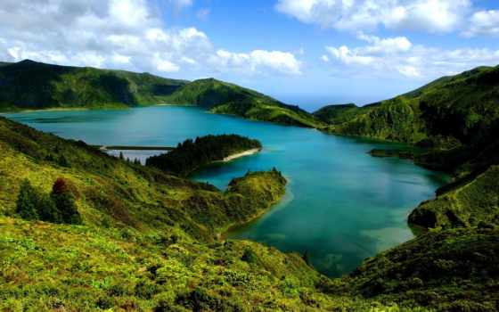 природа, португалия, горы, небо, озеро, остров, лес, sana,
