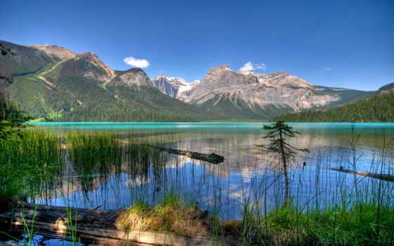 канада, fonds, emerald, ecran, озеро, lac, paysage, british, columbia, montagnes,