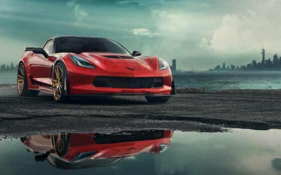 corvette, chevrolet, car, red, avto, goodfon, color