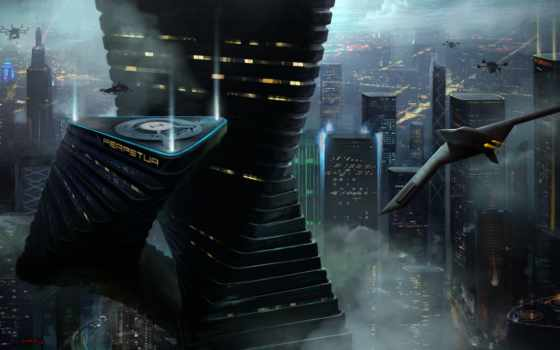 будущее, город, art
