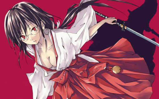 ,кровь, anime, девушка, мечь, кимано,