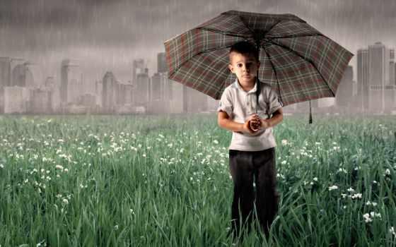 boy, под, зонтом, дождь, зонтиком, children,