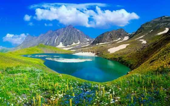 high, mountains, definition, озеро, lakes, зелёный, desktop, гора,