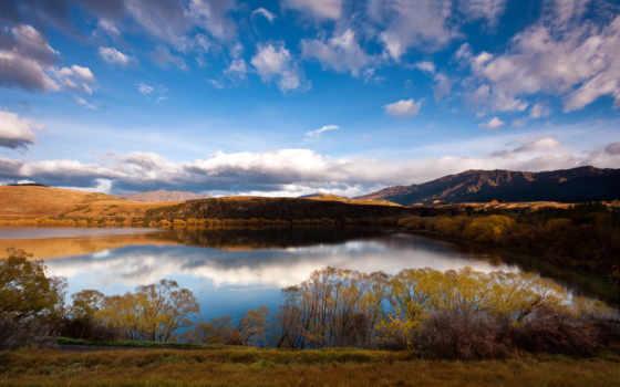 озеро, природа, широкоформатные, cvety, горы, лесное, берегу, лес, oblaka,