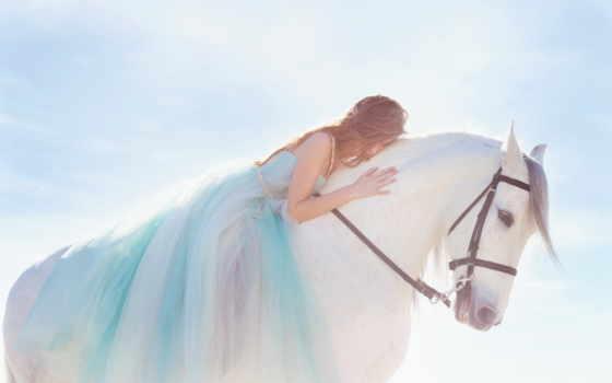 девушка, платье, лошадь, белом, коне, голубом, белая, телефон,