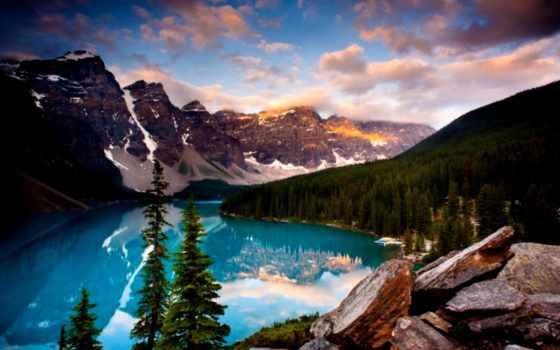 озеро, канадский, louise, moraine, северная, американский, парке, национальном, америки, альберта,