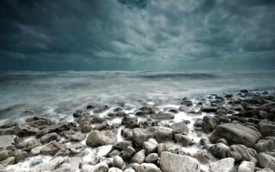 буря, море, тучи, impending, камни, landscape,