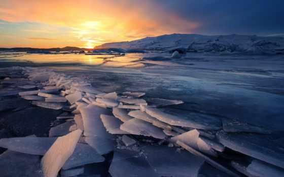 природа, iceland, лед, небо, glacier,