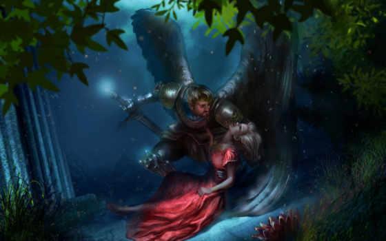 фэнтези, лес, рыцарь